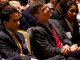 Josh Zivin, Jeffrey Sachs, and Anubha Agarwal sit