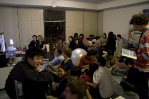 The living room in Melbourne was large enough to accommodate very well-attended gatherings of friends