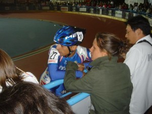 Luca chats with his wife trackside at the 2004 World Championships in Italy
