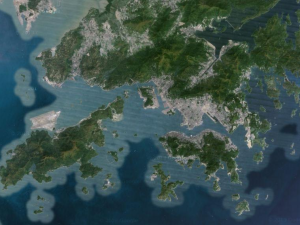 This satellite photo of Hong Kong shows just how much of it is actually not-concrete