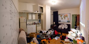 The apartment was barely large enough to contain all my stuff. Notice that there is no bed.