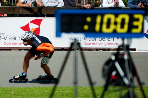 Michel on the second corner of his 300m Time Trial