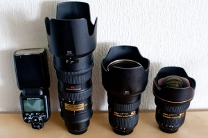Three top-of-the-line Nikkor Lenses and Flash